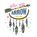 Boho template with inspirational quote lettering - Follow your arrow.