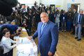 Boiko Borisov, leader centre right GERB vote in Sofia Oct 5, 2014. Bulgaria Royalty Free Stock Photo