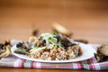 Boiled buckwheat with mushrooms Stock Images