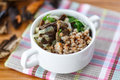 Boiled buckwheat with mushrooms Royalty Free Stock Image