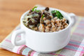 Boiled buckwheat with mushrooms Stock Photos