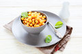 Boiled chickpeas in a bowl food closeup Royalty Free Stock Photography