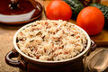 Boiled color mixed rice in ceramic bowl on wooden table Royalty Free Stock Image
