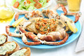 Boiled crab on a table seafood dish Stock Images