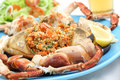 Boiled crab on a table seafood dish Stock Image