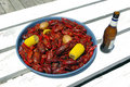 Boiled Crawfish and Beer Royalty Free Stock Photo