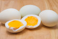 Boiled egg on cutting board Royalty Free Stock Photo