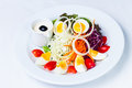 Boiled egg salad on the white plate and white background Royalty Free Stock Photography
