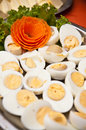 Boiled eggs dish buffet style a tasty of halves Stock Photo
