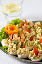 Boiled eggs with fish cream topping plate of elegant buffet style food of halves Stock Images