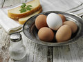 Boiled eggs hard on the steel plate Stock Photo
