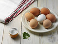 Boiled eggs hard on the wooden table Royalty Free Stock Photography