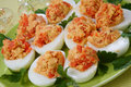 Boiled eggs with salmon fish Royalty Free Stock Photos