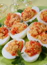 Boiled eggs with salmon fish Stock Image
