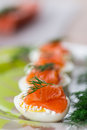 Boiled eggs with salted salmon and herbs Royalty Free Stock Photos