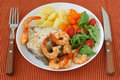 Boiled fish with shrimps and vegetables Royalty Free Stock Photos