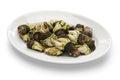 Boiled goose barnacle spanish tapas cuisine percebes Stock Photos