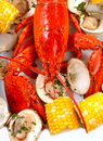Boiled lobster dinner with clams and corn Royalty Free Stock Photo