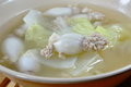 Boiled minced pork stuffed squid with chinese cabbage hot soup in bowl the Stock Photo