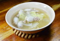 Boiled minced pork stuffed squid with chinese cabbage hot soup in bowl the Stock Photos