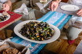 Boiled mussels cooking dish on a on table. Royalty Free Stock Photo