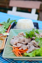 Boiled pork with lime garlic and chili sauce pork with lime closeup of selective focus blur background Royalty Free Stock Photos