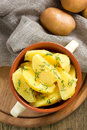 Boiled potatoes with dill Stock Photo