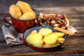 Boiled potatoes, peeled and sliced Royalty Free Stock Photo