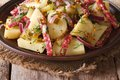 Boiled potatoes with salami and spices close-up  horizontal Royalty Free Stock Photo