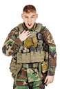 Portrait soldier or private military contractor shouting angry. Royalty Free Stock Photo