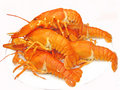 Boiled red lobster heap Royalty Free Stock Photo