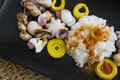 Boiled rice with curry and molluscs seafood marinated bamboo in traditional korean kitchen recipe Royalty Free Stock Image