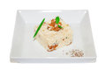 Boiled rice with mushroom chanterelle spice on plate restaurant menu Stock Photo