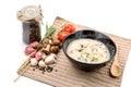 Boiled rice pork or mush for thai style beakfat Stock Photo