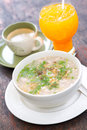 Boiled rice pork or mush for thai style breakfast Royalty Free Stock Photos