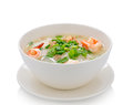 Boiled rice with shrimp on white background Royalty Free Stock Photo