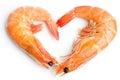 Boiled shrimp heart shape Royalty Free Stock Photo