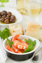 Boiled shrimps in small dish Stock Images
