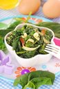 Boiled spinach with egg for baby Stock Photo
