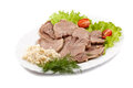 Boiled veal tongue with greens and a horse-radish Royalty Free Stock Photos
