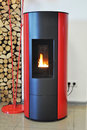 Boiler for Firewood and Wood Briquettes. Firewood Heating for House. Firewood  boiler. Royalty Free Stock Photo