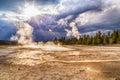 Vriacej horúci voda a para na dolné gejzír povodia v