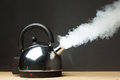 Boiling kettle with dense vapor Royalty Free Stock Image