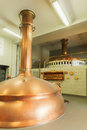 Boiling kettle and mash tun in the background brewery de brabandere bavikhove belgium Royalty Free Stock Photo