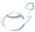 Boiling kettle vector illustration a blue contour Royalty Free Stock Images