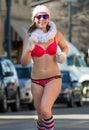 Boise idaho usa february woman running to battle woman in her undies running neurofibromatosis at the cupids underwear run Royalty Free Stock Photo