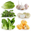Bok choy, cauliflower, Sweet Basil, white turnips, garlic, baby Royalty Free Stock Photo