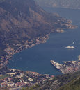Boka kotorska bay from the mountain above Royalty Free Stock Photo
