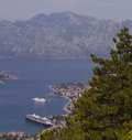 Boka kotorska bay from the mountain above Stock Image