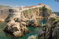 Bokar fort and city walls dubrovnik croatia viewed from the pier Stock Images